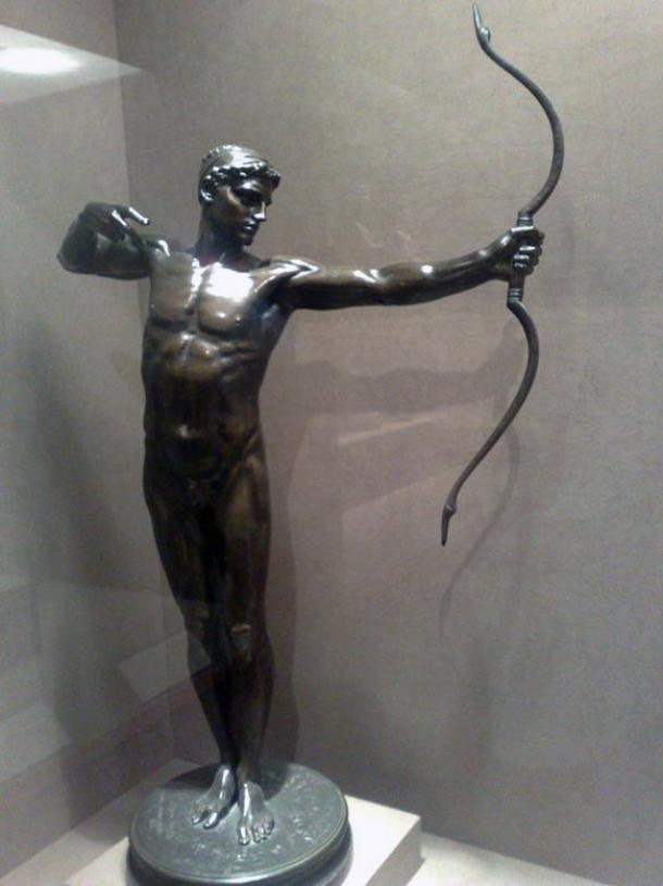 Bronze statue depicting legendary archer, Teucer.