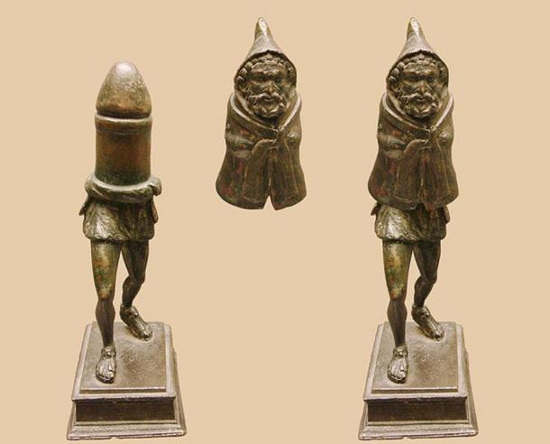 Bronze statuette possibly of the Roman fertility god Priapus, made in two parts (shown here in assembled and disassembled forms). This statuette has been dated to the late 1st century C.E. It was found in Rivery, in Picardy, France in 1771