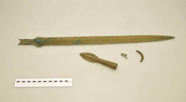Bronze sword and spear point found at the secret archaeological site near Rychnov, Czech Republic. (David Tanecek, CTK)