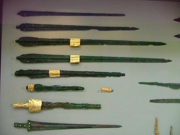 Bronze swords from the collection of the Athens National Archaeological Museum; who knows if any of them were used by famous ancient heroes or gods, or even how true to history Homer's tales of the Trojan War are.