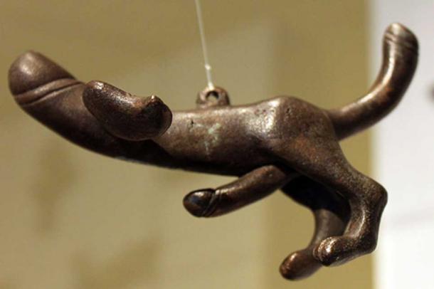 Bronze tintinnabula in the shape of flying phallus, Pompeii, 1st-3rd century AD.
