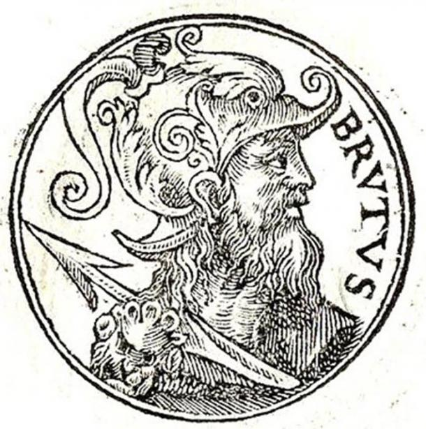 A 1553 representation of Brutus of Troy, a legendary descendant of the Trojan hero Aeneas, was known in medieval British legend as the eponymous founder and first king of Britain, and the one who set the stone in its place.