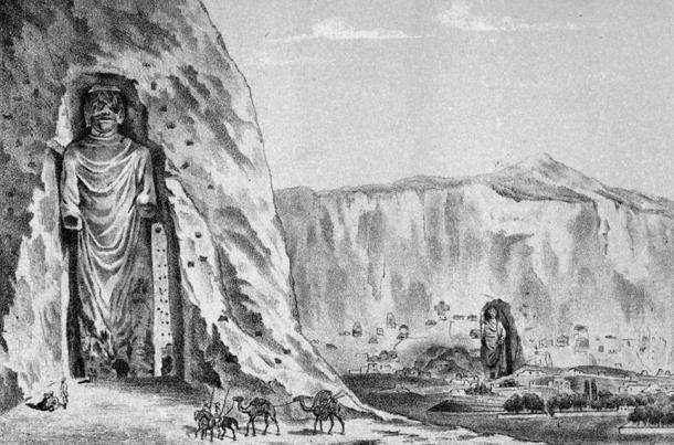 An 1885 illustration of the two standing Bamiyan Buddha statues.