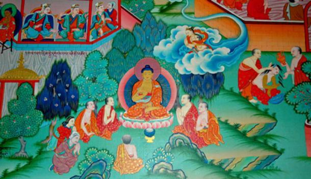 Buddha teaching, from the Buddha's life story, mural, Tharlam Monastery of Tibetan Buddhism, Boudha, Kathmandu, Nepal. (
