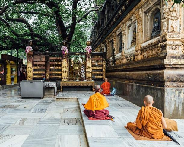 Indian Buddhist monk in meditation near the Bodhi Tree and Diamond Throne (artitwpd / Adobe Stock)