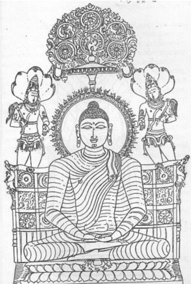 Possibly a modification of his family seal designed to reflect his new teachings, once Siddhartha Gautama achieves enlightenment this Buddhist emblem comes to represent him seated on the lion-throne under the sacred cosmic tree flanked by two celestial Bodhisattva.