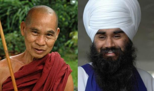 [Left] A Buddhist monk with a shaved head (Flickr/CC BY 2.0) [Right] a Sikh man wears his long hair wrapped in a traditional turban. (Flickr/CC BY-SA 2.0)