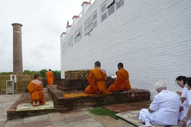 Buddhist monks in Lumbini, the Birthplace of the Lord Buddha.