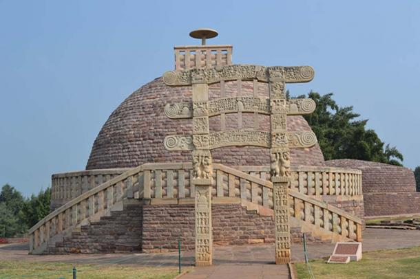 A Buddhist stupa in India. Much smaller stupas have been found recently on the Indonesian island of Java.