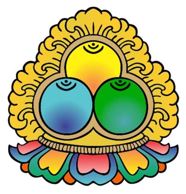 Buddhist symbol representing the Three Jewels - Buddha, Dharma, Sangha.