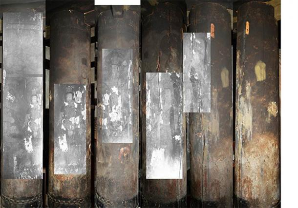 The Buddhist art was discovered by taking infrared images of the temple's columns. (Noriaki Ajima and Yukari Takama)