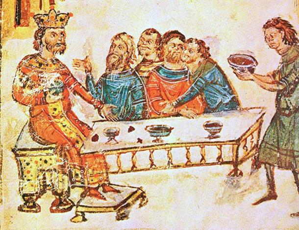 Bulgarian Khan 'Krum the Fearsome' feasts with his nobles as a servant brings the skull of Nikephoros I, fashioned into a skull cup, full of wine. (Soerfm / Public Domain)
