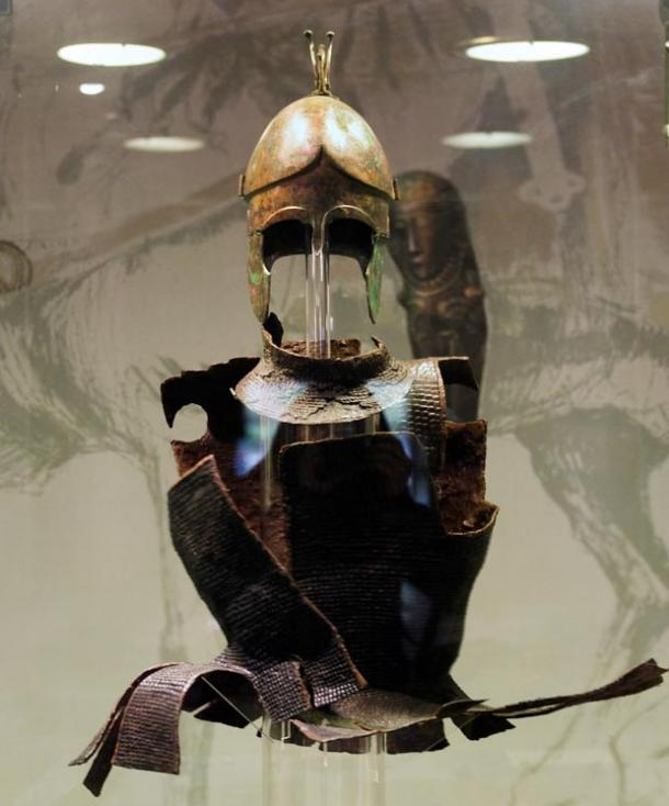 Another Bulgarian tumulus that escaped looting was of an Odrysian aristocrat whose grave goods included this armor and helmet.
