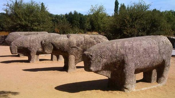 The Bulls of Guisando, a set of Celtiberian sculptures located at Ávila, Spain. They are associated with the territory of a Celtiberian tribe called the Vettones. Circa 2nd century BCE.