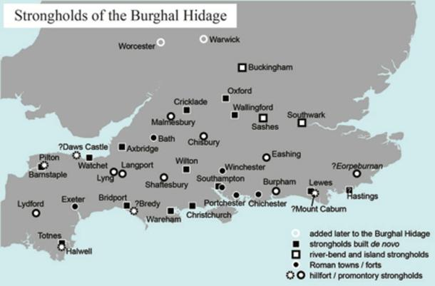 Strongholds listed in the Burghal Hidage. Author provided.