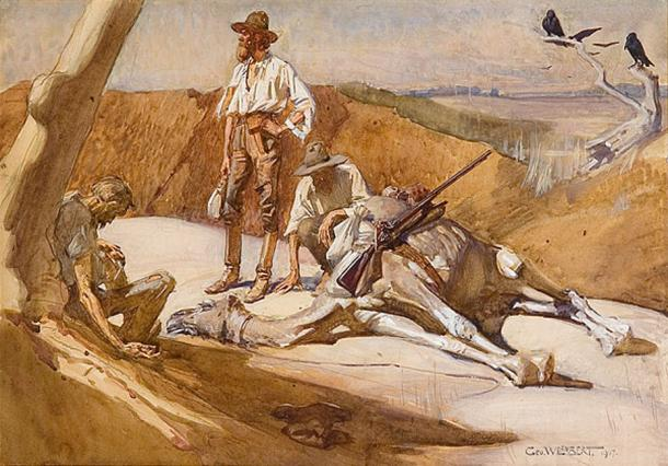 'Burke and Wills on the Way to Mount Hopeless' (1907) by George Washington Lambert. (Public Domain)