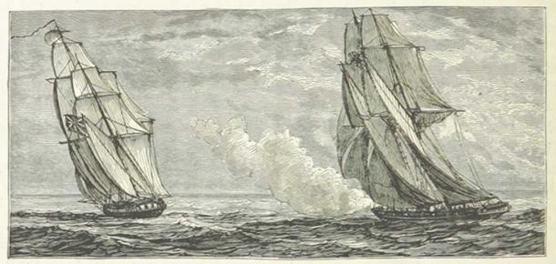 An illustration of the Burla Negra chasing the Morning Star.