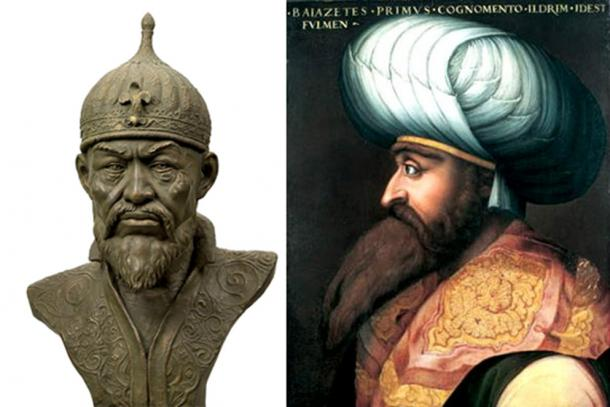 Bust of Timur [left], and portrait of Bayezid I [right].
