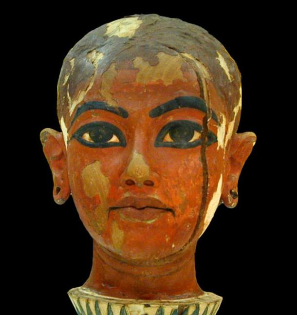 Bust of the boy king, Tutankhamun found in his tomb, 1922.