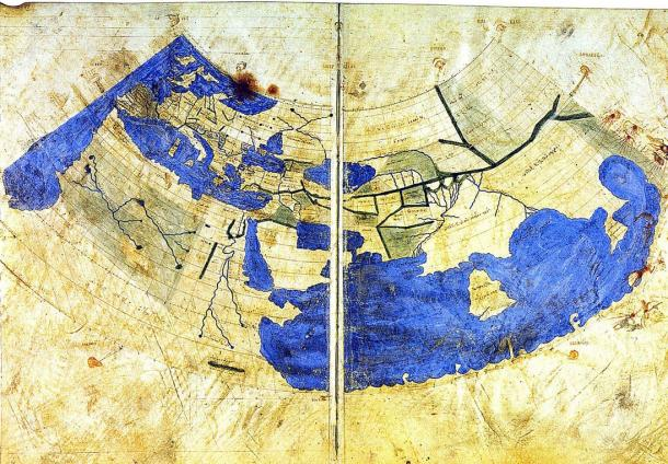 A Byzantine Greek world map according to Ptolemy's first (conic) projection, circa 1300. The Golden Chersonese is the peninsula to the far east, just prior to the Great Gulf.