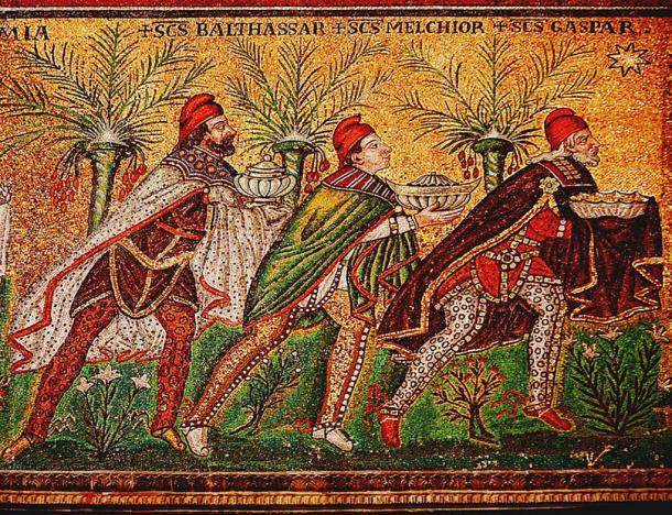 Byzantine depiction of the Three Magi in a 7th-century mosaic at Basilica of Sant'Apollinare Nuovo.