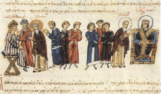 The Byzantine embassy of John the Grammarian to Ma'mun (depicted left) from Theophilos (depicted right)