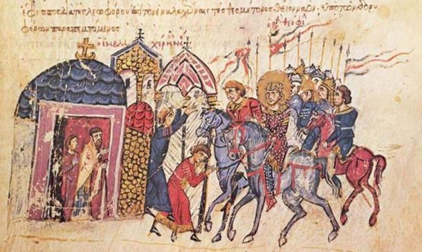 Byzantine emperor Theophilus (829 - 842 AD), on horseback. Chronicle of John Skylitzes 13th Century (Public Domain)
