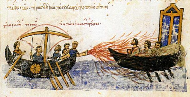 A Byzantine ship uses Greek fire against a ship of the rebel, Thomas the Slav, 821. 12th century illustration from the Madrid Skylitzes