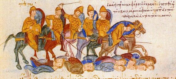 Byzantine victory over the Bulgarians at the Battle of Kleidion, from the Madrid Skylitzes. (Public Domain)