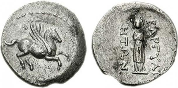 CARIA, Bargylia. 2nd-1st centuries BC. AR Hemidrachm (1.17 g, 12h). Rhodian standard. Pegasus flying right / Statue of Artemis Kindyas standing facing. (Classical Numismatic Group/CC BY SA 3.0)