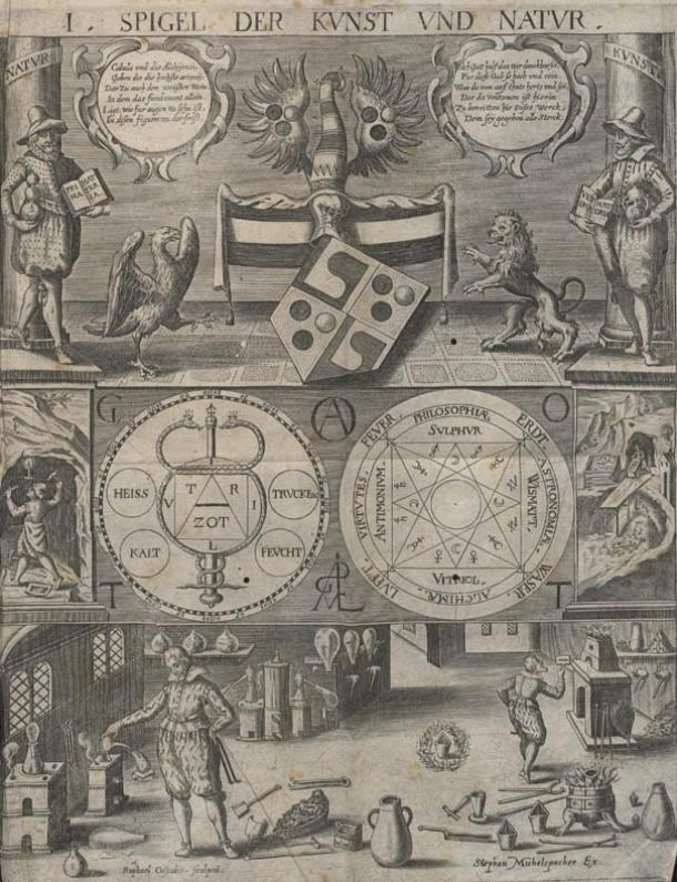 Illustration from the Cabala Speculum, 1654.