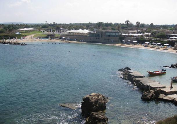 Caesarea Ancient Harbor where the gold coins were discovered