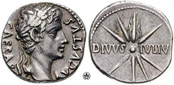 Caesar's comet, depicted on a denarius coin. (Classical Numismatic Group, Inc./CC BY SA 3.0)