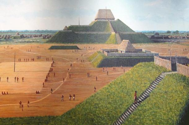 An artist's depiction of Monks Mound as found within the interpretive center at Cahokia Mounds State Park