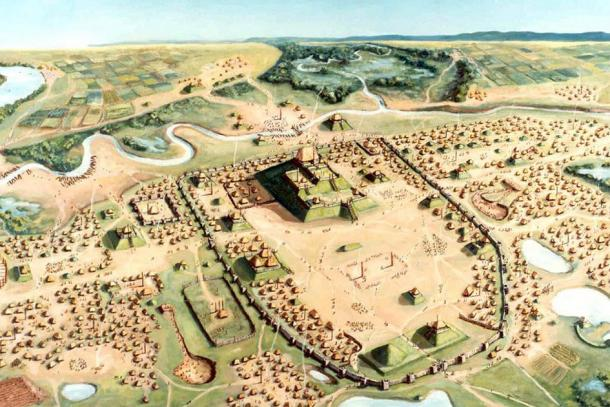 Cahokia was an early experiment in urban living. (Cahokia Mounds State Historic Site, painting by William R. Iseminger)