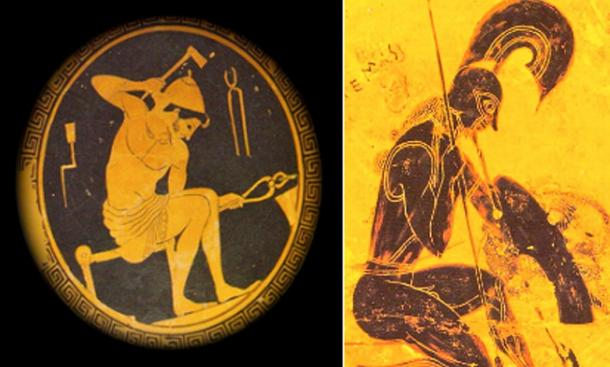 Left, Cain/Hephaistos, on a plate from about 420 BC, works at his forge. Right, Seth/Ares kneels on a section of the famous Francois Vase created in about 565 BC. (Public domain)