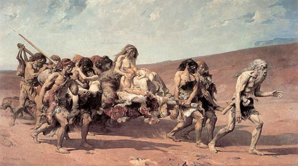 Cain fleeing before Jehovah's Curse. (BetacommandBot / Public Domain)