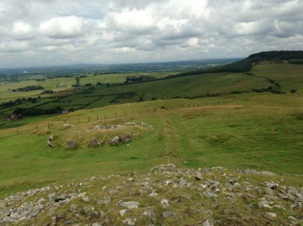 The view from the top of the Cairn towards the Hill of Tara, visible on the horizon.