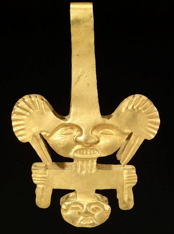 Calima culture gold ceremonial tweezers. Men in ancient Colombia used tweezers to remove their facial hair. This elaborate pair may have been used during rituals or ceremonies. Simpler versions of such tweezers would have been used on a daily basis. Gold objects were made throughout the ancient Americas for the exclusive use of an elite class of rulers, priests, and other noblepersons. Acquired by Henry Walters, 1910.