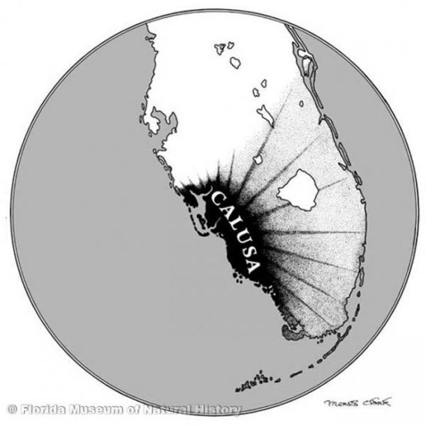 Calusa influence extended over most of south Florida in the sixteenth century. (Image Courtesy of Florida Museum of Natural History)
