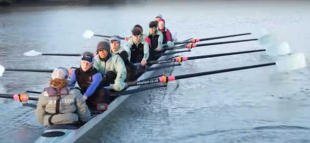 Cambridge University Women's Boat Club Openweight crew rowing during the 2017 Boat Race on the river Thames in London. The Cambridge women's crew beat Oxford in the race. The members of this crew were among those analysed in the study.