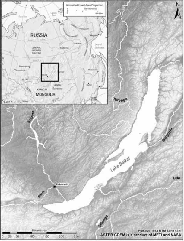 A Cambridge University map shows the Stone Age grave Lokomotiv north of Russia's Lake Baikal, the deepest freshwater body of water in the world.