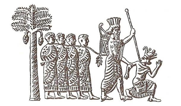 Cambyses II of Persia capturing pharaoh Psamtik III. Image on Persian seal, VI century BC.