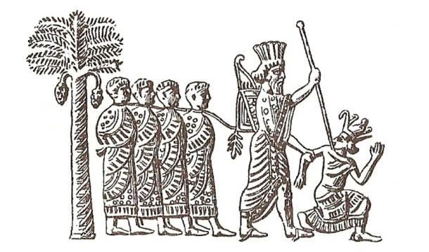 Cambyses II of Persia capturing pharaoh Psamtik III. Image on Persian seal, VI century BC.