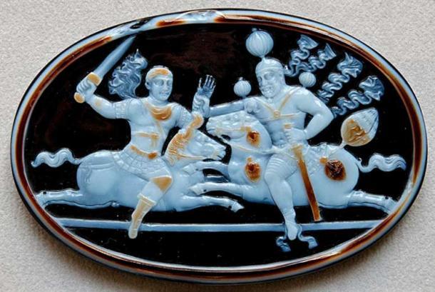 Cameo of Shapur I and Emperor Valerianus, 260 AD.