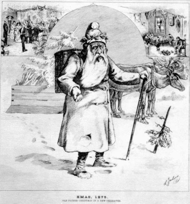 Canadian Santa and reindeer, Xmas 1875.