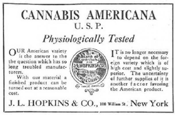 Cannabis Americana Distributor logo, United States, 1917. (Public Domain)