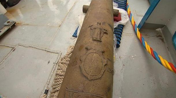 Cannon decorated with an image of St Matrona.