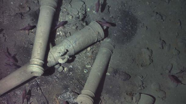 Cannons with dolphins engraved on them are the key distinguishing feature of the wreck. Source: REMUS image, Woods Hole Oceanographic Institution