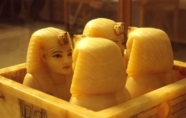 Canopic jars from Tutankhamun's tomb.